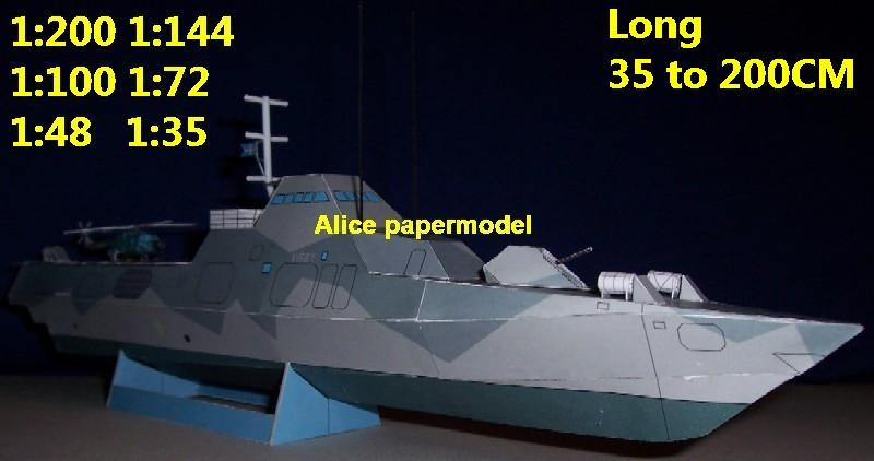 1:200 1:144 1:100 1:72 1:48 1:35 Sweden Stealth Corvette Visby class missile cruiser destoryer frigate aircraft carrier landing ship craft large scale size super big long submarine battleship military warship ship papercraft model models