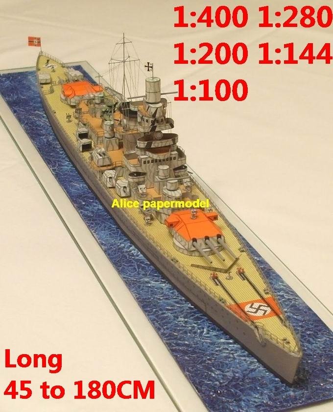 1:400 1:280 1:200 1:144 1:100 WWII German light cruiser Admiral Scheer destoryer submarine torpedo boat fleet battleship large scale size super big long missile frigate aircraft carrier military warship ship papercraft model models