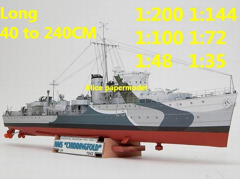 1:200 1:144 1:100 1:72 1:48 WWII UK Hunt II Class HMS Chiddinfold Badsworth destoryer Light Cruiser battleship landing aircraft carrier large scale size super big long submarine missile frigate military warship ship model models