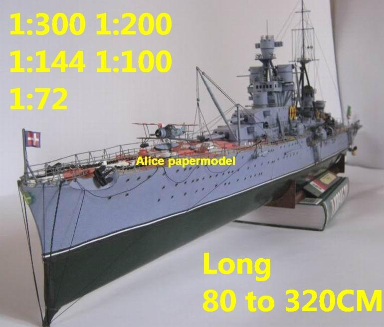 [Alice papermodel]1:300 1:200 1:144 1:100 1:72 WWII Italy roma class Pola  battleship Cruiser landing aircraft carrier large scale size super big long