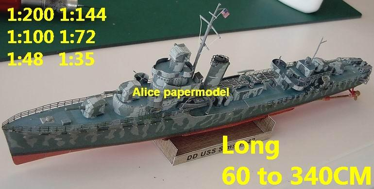 WWII US USS SIMS destoryer battleship Heavy Cruiser landing craft aircraft carrier large scale size super big long submarine Modern Guided missile frigate passenger liner Ferry tugboat military warship ship paper models