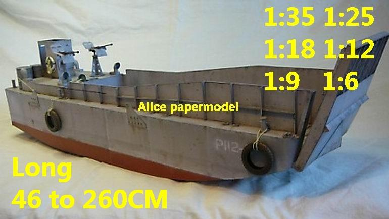 WWII US LCM Normandy D DAY D-DAY LCM3 landing craft aircraft carrier large scale size super big long landing ship submarine battleship Modern Guided missile frigate destoryer passenger liner military warship ship paper models