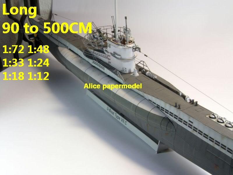 WWII German submarine U Boot U-Boot Type VII C large scale size super big long battleship Modern Guided missile frigate destoryer aircraft carrier passenger liner Ship Ferry tugboat military warship ship boat paper models