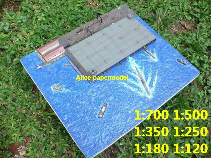 WWII German submarine U-Boot U boot U boat U-boat diorama Naval Harbor scene base large scale size super big long battleship Modern Guided missile frigate destoryer aircraft carrier passenger liner Ship Ferry tugboat military warship boat ship paper models