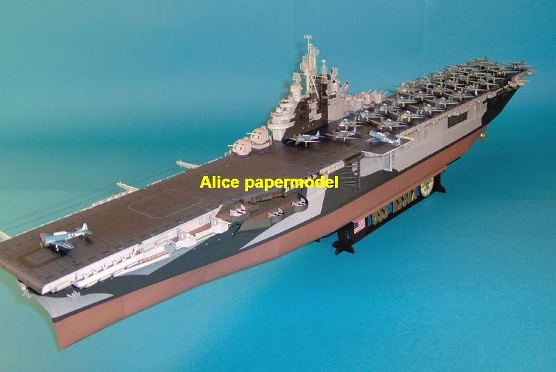 WWII US CV9 CV-9 USS ESSEX class aircraft carrier large scale size super big long landing ship submarine battleship Modern Guided missile frigate destoryer passenger liner military warship paper models