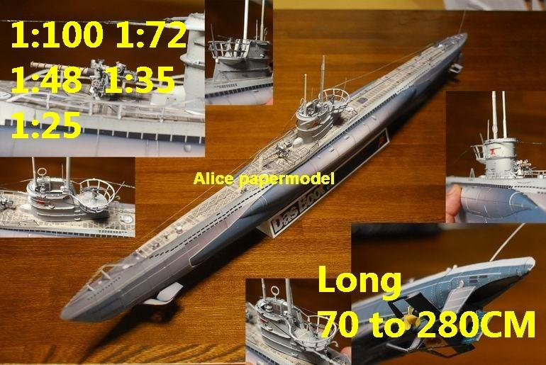 WWII German submarine U Boot U-Boot U boat U-boat large scale size super big long battleship Modern Guided missile frigate destoryer aircraft carrier passenger liner Ship Ferry tugboat military warship ship boat paper models