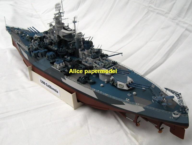 WWII US Tennessee class USS California battleship Heavy Cruiser landing craft aircraft carrier large scale size super big long submarine Modern Guided missile frigate destoryer passenger liner Ferry tugboat military warship ship paper models