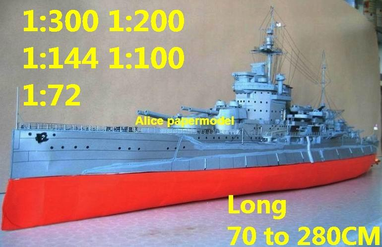 [Alice papermodel]1:300 1:200 1:144 1:100 1:72 WWI UK HMS Warspite  battleship Cruiser landing aircraft carrier large scale size super big long