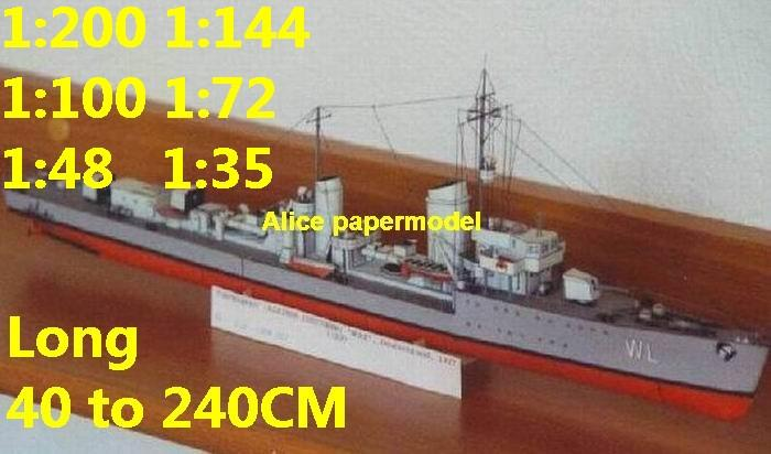 WWII German Destroyer DKM Wolf Battleship Ironclad battleship missile cruiser frigate destoryer aircraft carrier landing ship large scale size super big long submarine military warship papercraft model models