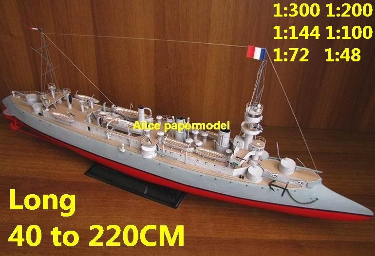 WWI France French Dupuy de Lome Ironclad missile destoryer cruiser frigate aircraft carrier landing ship craft large scale size super big long battleship submarine military warship papercraft model models