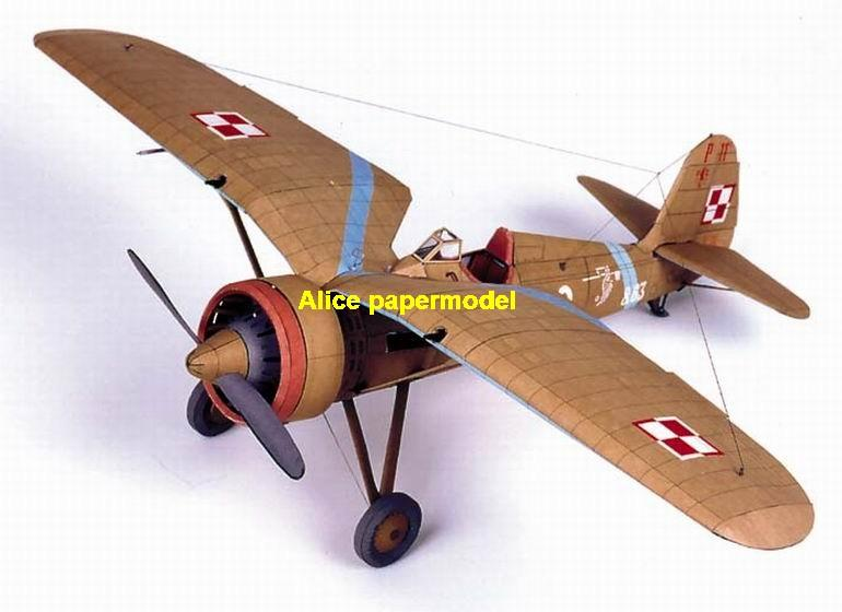 WWII Poland fighter P-11 P11 fighter aircraft biplane big large scale size plane flighter model models soldier pilot scene on sale