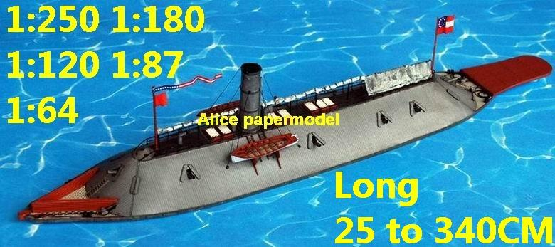 US Civil War USS CSS Virginia ironclad missile frigate destoryer Torpedo boat submarine battleship large scale size super big long aircraft carrier military warship ship papercraft models model
