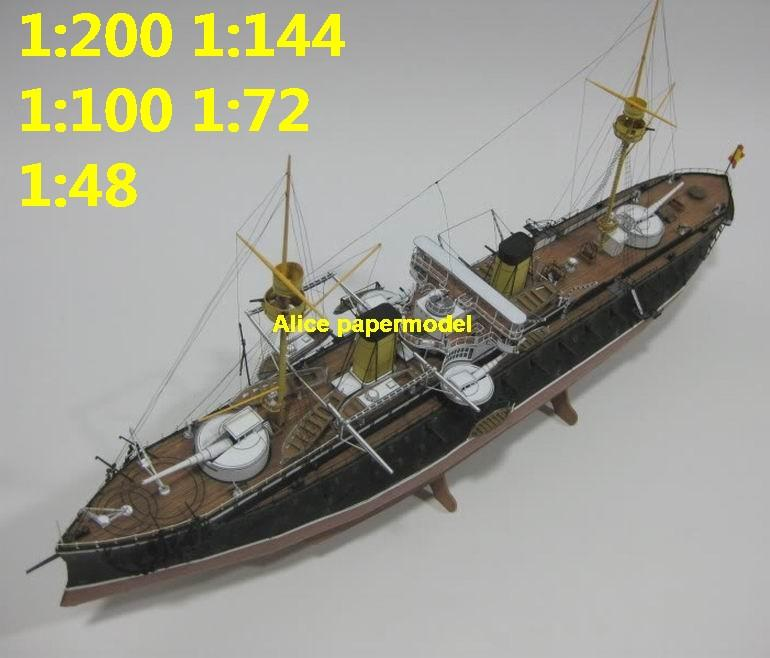 1:200 1:144 1:100 1:72 1:48 Spain Spanish Ironclad Numancia coastguard missile cruiser destoryer frigate aircraft carrier landing ship craft large scale size super big long submarine battleship military warship papercraft model models