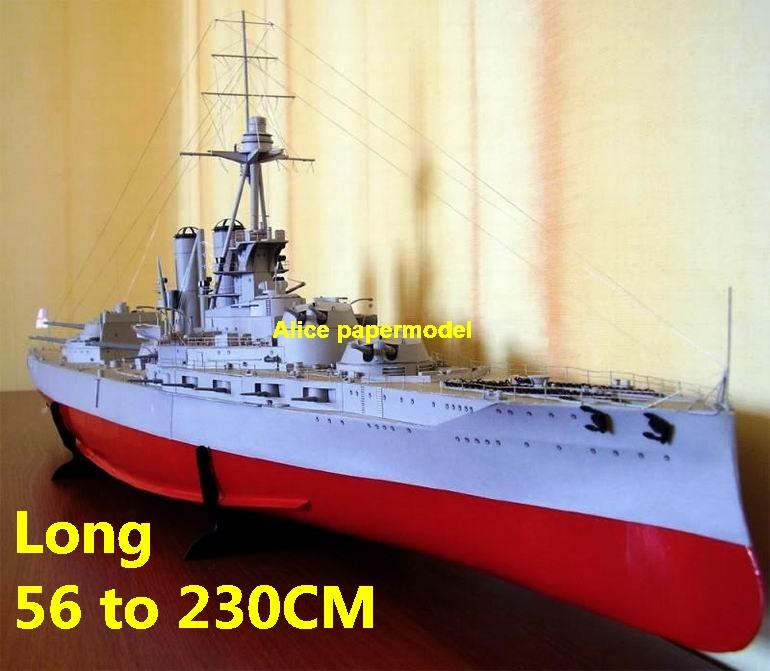 WWI UK HMS Iron Duke Ironclad missile destoryer cruiser frigate aircraft carrier landing ship craft large scale size super big long battleship submarine military warship papercraft model models