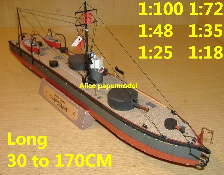 1:100 1:72 1:48 1:35 1:25 1:18 WWI ironclad gunship gunboat Torpedo frigate destoryer submarine large scale size super big long battleship aircraft carrier military warship ship boat papercraft model models