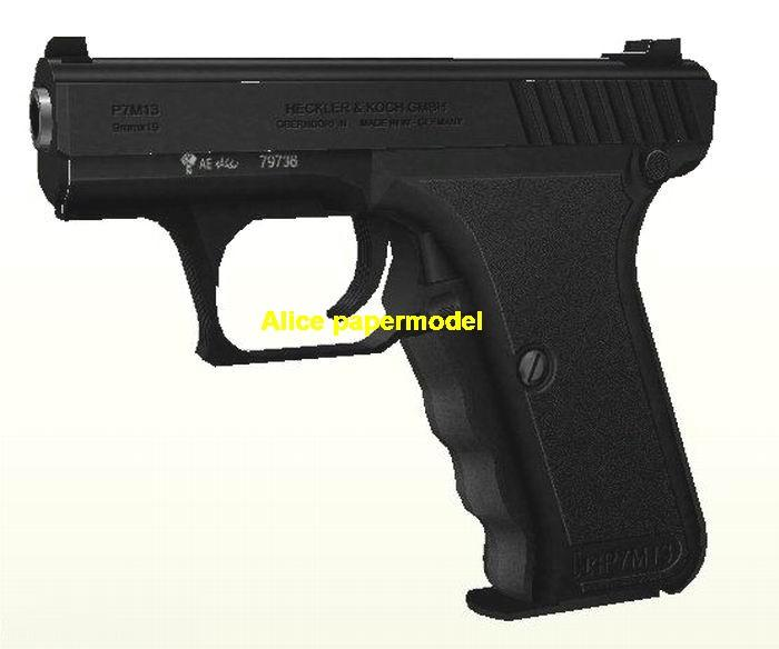 German HK P7 pistol handgun weapon gun model models