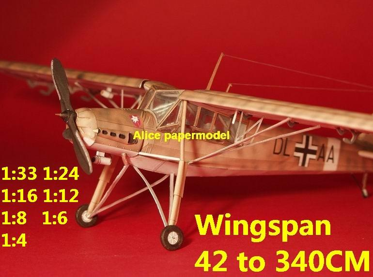 WWII German fighter Messerschmitt Fi-156 Storch biplane aircraft big large scale size plane flight model models soldier pilot scene for sale store shop