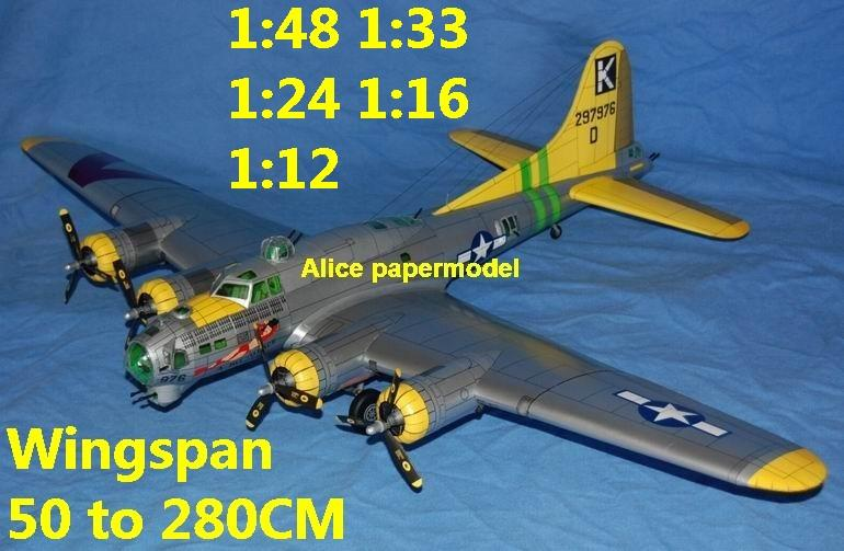 WWII US fighter B17 B-17 B-17G Flying Fortress heavy bomber aircraft biplane big large scale size plane flighter model models soldier pilot scene on sale shop store