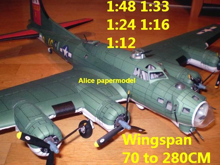 WWII US fighter B17 B-17 B-17G Flying Fortress heavy bomber fighter aircraft biplane big large scale size plane flight model models soldier pilot scene on sale shop store