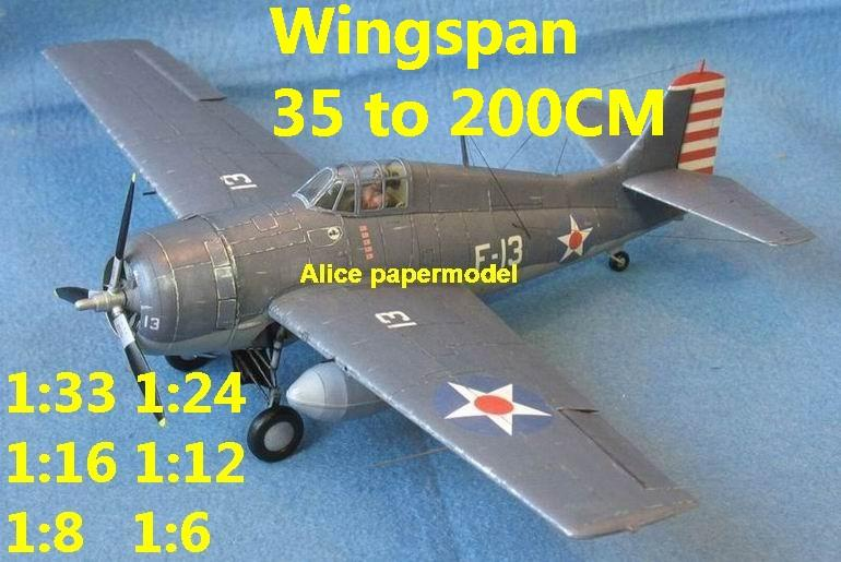 WWII US fighter Grumman F-4F F4F Wildcat Corsair aircraft biplane big large scale size flight plane model models soldier pilot scene for sale store shop