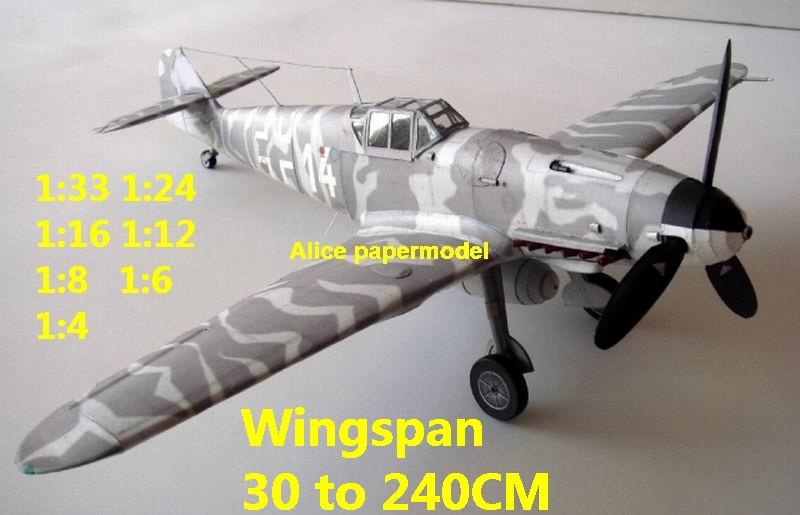 WWII German fighter Messerschmitt Bf-109 Bf 109 G-8 aircraft biplane big large scale size plane flight model models soldier pilot scene for sale store