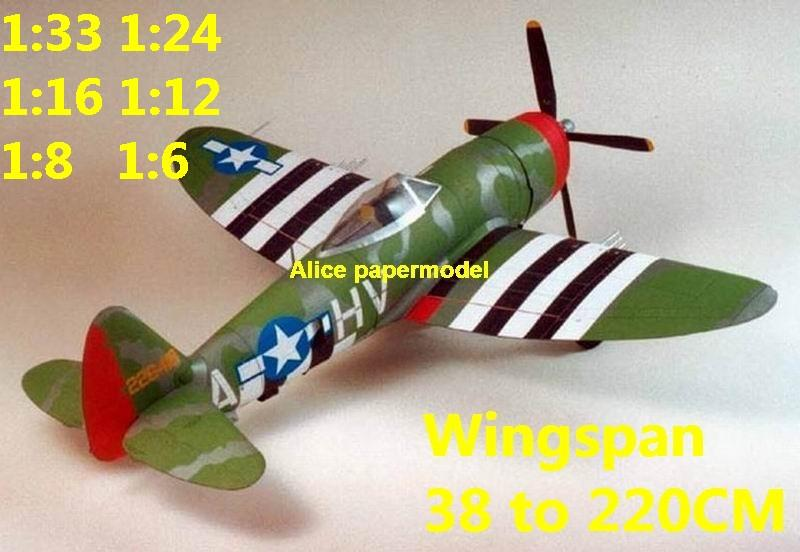 WWII US fighter P47 P-47 P-47D Thunderbolt aircraft biplane big large scale size flight plane model models soldier pilot scene for sale store shop