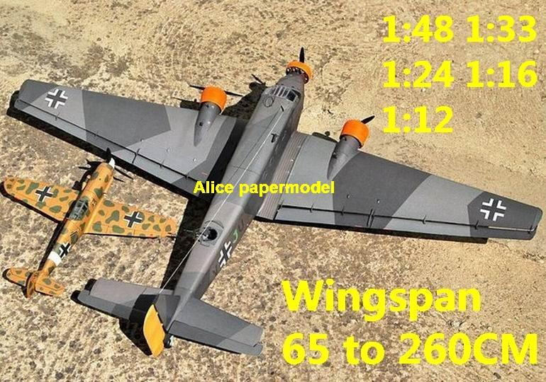 WWII German fighter Junkers Ju 52 Ju-52 bomber aircraft biplane big large scale size plane flighter model models soldier pilot scene on sale shop store