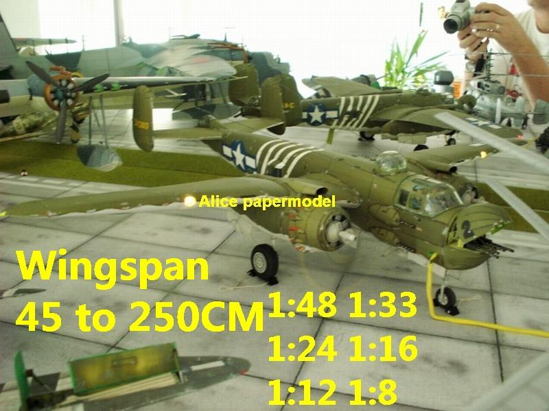 WWII US B25 B-25 Mitchell middle bomber fighter biplane aircraft big large scale size flight plane model models soldier pilot scene on sale shop store