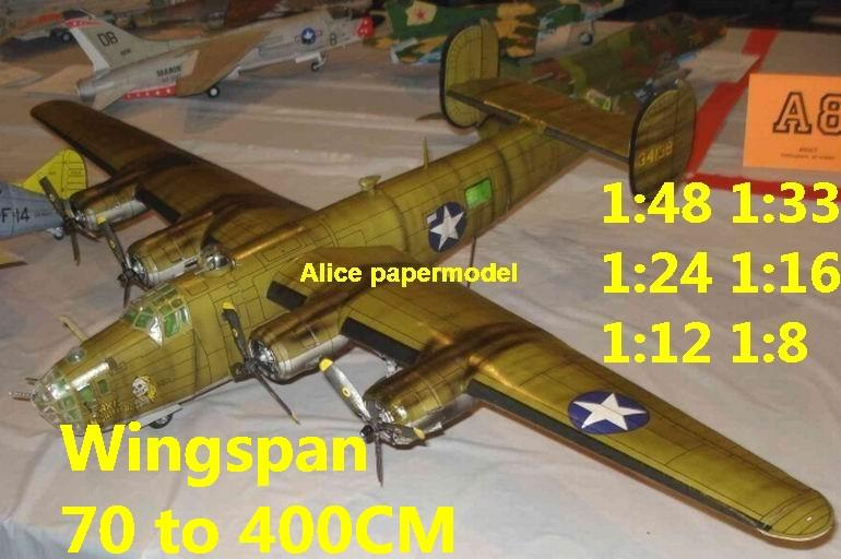 WWII US Consolidated B24 B-24 B-24 Liberator heavy bomber fighter aircraft biplane big large scale size plane flight model models soldier pilot scene on sale shop store
