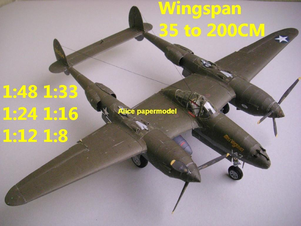 WWII US fighter P38 P-38 P-38G Lightning aircraft biplane big large scale size plane flight model models soldier pilot scene for sale shop store