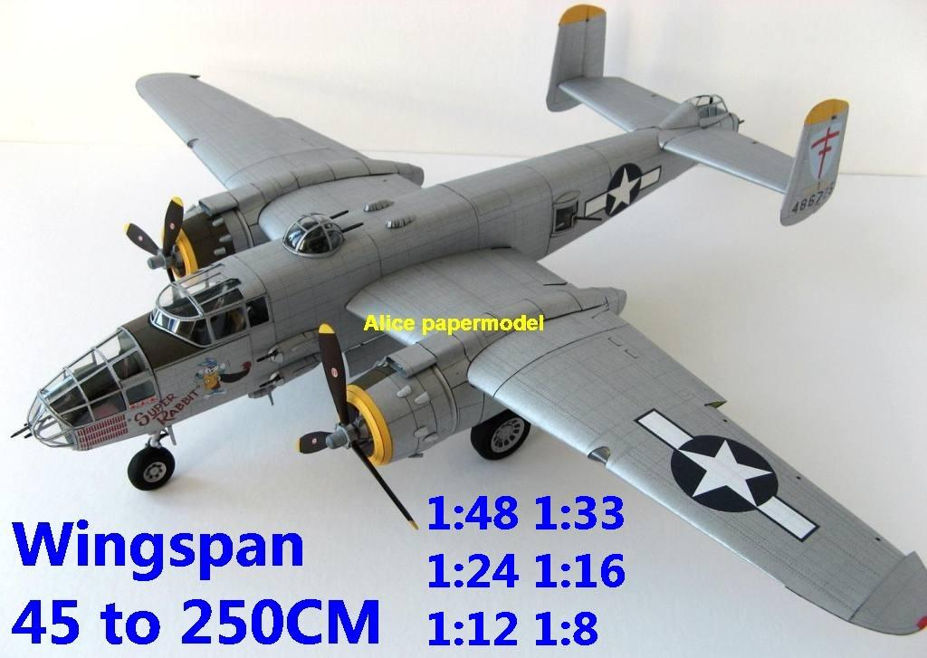 WWII US B25 B-25 Mitchell middle bomber fighter aircraft biplane big large scale size flight plane model models soldier pilot scene on sale shop store