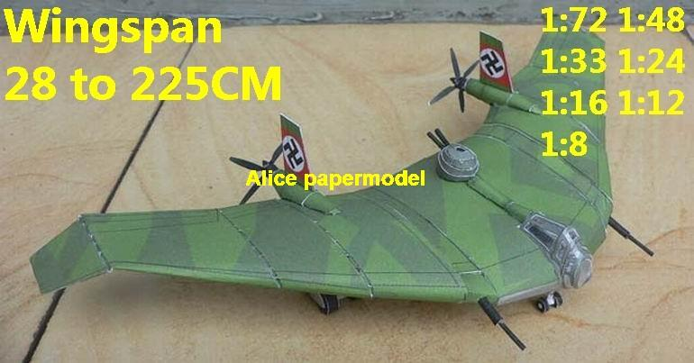 1:72 1:48 1:33 1:24 1:18 1:16 1:12 1:8 scale WWII German fighter Messerschmitt BV38 BV-38 bomber Flying Wing bomber aircraft biplane large big scale size plane flighter model models soldier pilot scene for sale shop store
