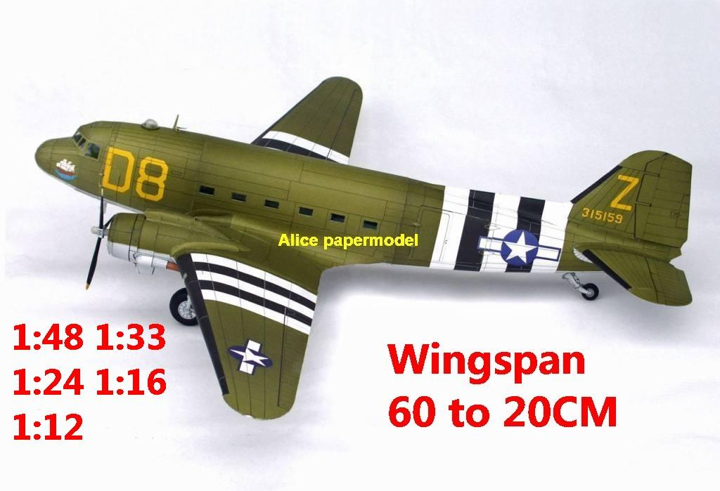 1:48 1:33 1:24 1:18 1:16 1:12 WWII USA US Douglas C47 C-47 Skytrain airliner fighter bomber military transport aircraft biplane big large scale size plane flight model models soldier pilot scene for sale shop store