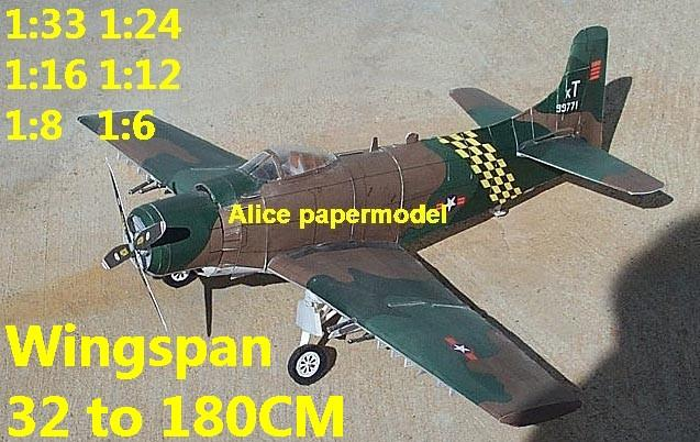 WWII US fighter A1 A-1 Skyraider ground attack bomber biplane aircraft big large scale size plane flight model models soldier pilot scene for sale shop store