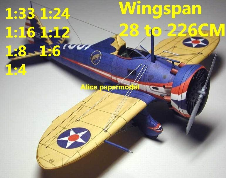 WWII US fighter Boeing P-26 P26 Peashooter aircraft biplane big large scale size plane flight model models soldier pilot scene for sale shop store