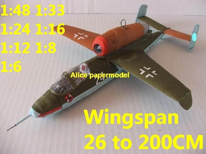 WWII German Germany jet fighter Mistel 5 Heinkel He-162 He162 AR E377 aircraft biplane big large scale size plane flight model models soldier pilot scene for sale shop store