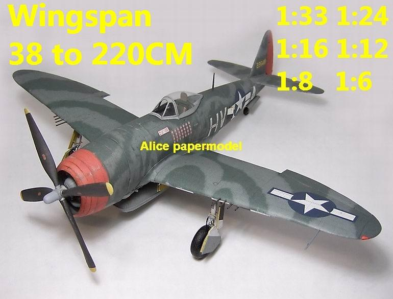WWII US fighter P47 P-47 25D Thunderbolt aircraft biplane big large scale size flight plane model models soldier pilot scene for sale store shop