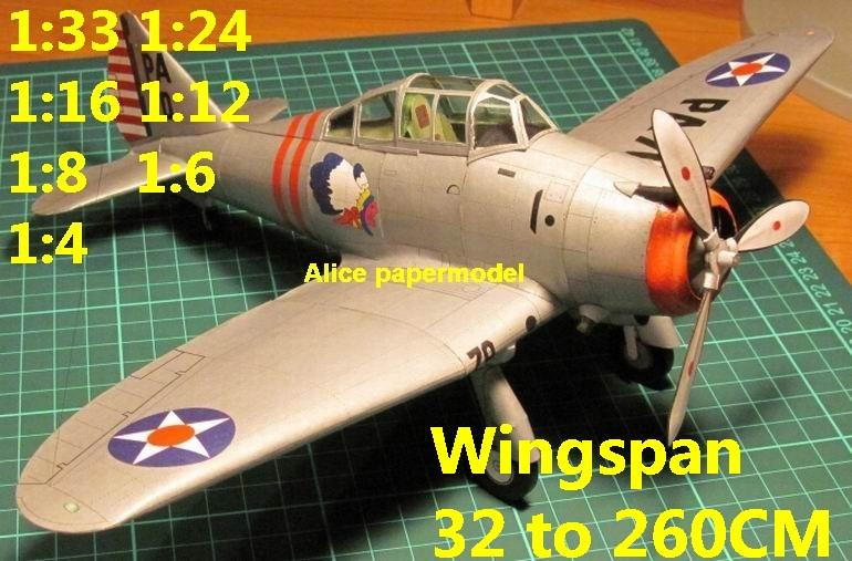 WWII US fighter Seversky P35 P-35 biplane aircraft big large scale size plane flight model models soldier pilot scene for sale shop store