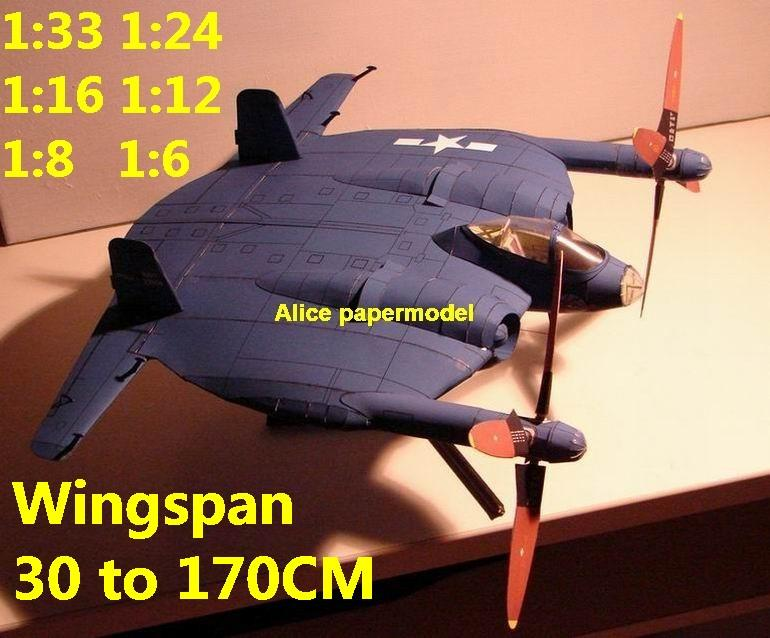WWII US fighter Chance Vought XF5U Flying PanCake bomber biplane aircraft big large scale size plane flight model models soldier pilot scene for sale shop store