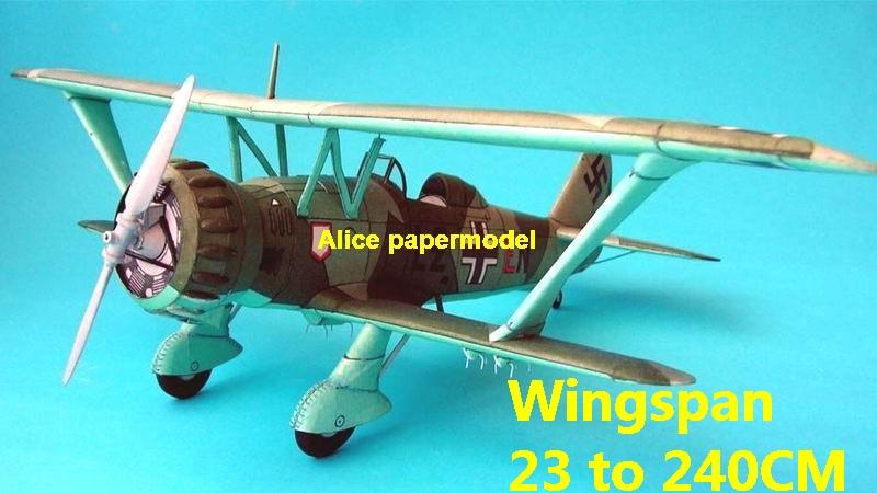 WWII German fighter Henschell HS123 HS-123 Stosser aircraft biplane big large scale size plane flight model models soldier pilot scene on sale store shop
