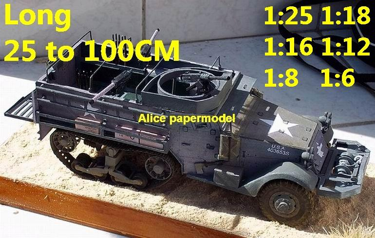 1:25 1:18 1:16 1:12 1:8 1:6 1:4 scale WWII World War II WW2 United States US USA M3A1 M3-A1 Tank half-track half track SAM missle launcher launches artillery truck MBT main battle jeep armored vehicle vehicles military army train big large scale size car model models soldier soldiers scene on shop sale