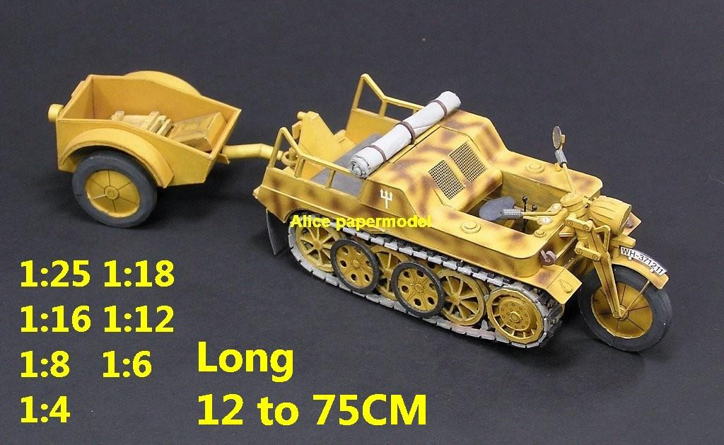 1:25 1:18 1:16 1:12 1:8 1:6 1:4 scale WWII World War II WW2 German SdKfz 2 Kleines Kettenkraftrad HK 101 Kettenkrad motorcycle moto bicycle half-track half track tank missle launcher artillery truck MBT main battle jeep armored vehicle vehicles military army train big large scale size car model models soldier soldiers scene for on sale shop store