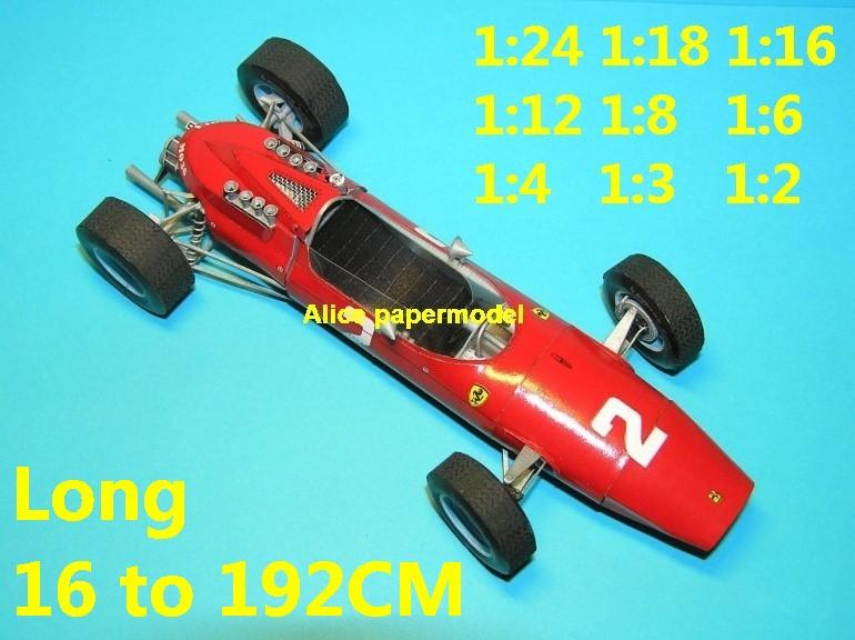 1:24 1:18 1:16 1:12 1:8 1:6 1:4 1:3 1:2 scale 1964 Ferrari 158 V6 engine team FIA Grands Prix Formula one 1 F1 F-1 Ferrari Mercedes Renault Honda racing papercraft sport vintage classic old car sedan big large scale size car models model on for sale shop store papercraft
