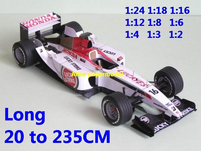 1:24 1:18 1:16 1:12 1:8 1:6 1:4 1:3 1:2 scale 2003 Japan Honda BAR-005 BAR 005 team FIA Grands Prix Formula one 1 F1 F-1 Ferrari Mercedes Renault Honda racing sport vintage classic old car sedan big large scale size car papercraft model models on for sale shop store