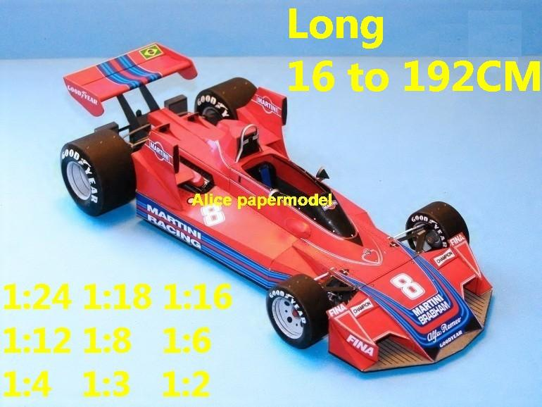 1:24 1:18 1:16 1:12 1:8 1:6 1:4 1:3 1:2 scale 1976 Monaco Brabham BT45 BT-45 BT 45 Cosworth DFV team FIA Grands Prix Formula one 1 F1 F-1 Ferrari Mercedes Renault Honda racing papercraft sport vintage classic old car sedan big large scale size car models model on for sale shop store papercraft