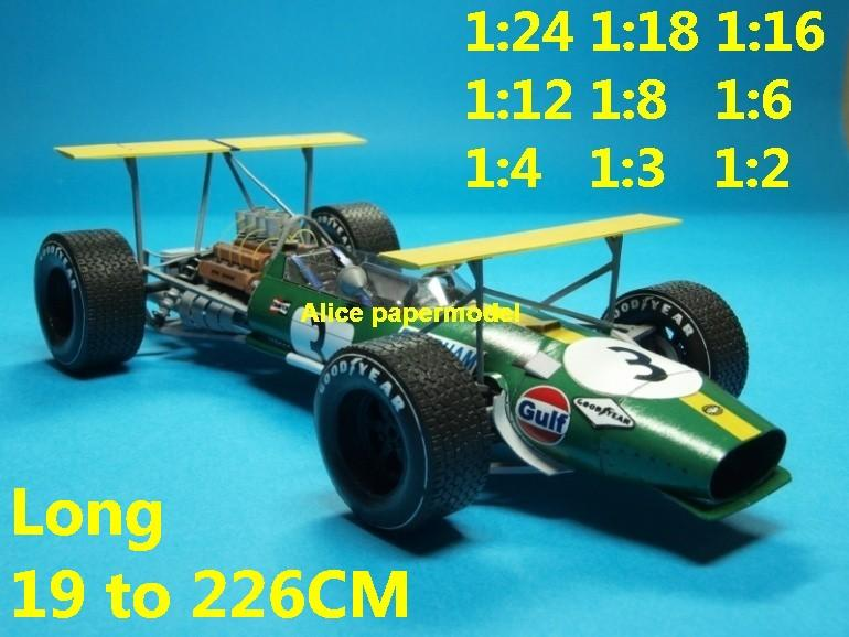1:24 1:18 1:16 1:12 1:8 1:6 1:4 1:3 1:2 scale 1968 1969 Nurburgring Monaco Repco Brabham BT26 BT-26 Cosworth DFV engines team FIA Grands Prix Formula one 1 F1 F-1 Ferrari Mercedes Renault Honda racing papercraft sport vintage classic old car sedan big large scale size car models model for on sale shop store