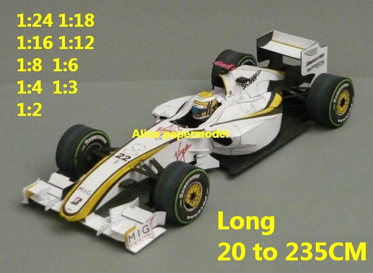 Brawn BGP GP 001 Brasil 2009 1:24 1:18 1:16 1:12 1:8 1:6 1:4 1:3 1:2 FIA Grands Prix Formula one 1 F1 F-1 Ferrari Mercedes Renault Honda racing papercraft sport car sedan big large scale size car models model for on sale shop store papercraft