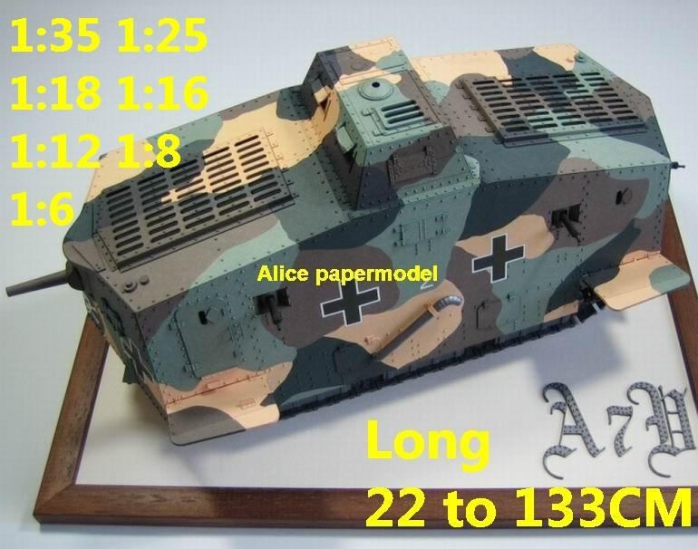 1:25 1:18 1:16 1:12 1:8 1:6 scale WWI World War I German Germany army A-7V A7V A-7 A7V armoured vehicle Fighting vehicle armored vehicles MBT main battle tank modern self propelled howitzer cannon military truck jeeps jeep armoured car SAM missle launcher launches artillery military train big large scale size car model models soldier soldiers scene on for sale shop store