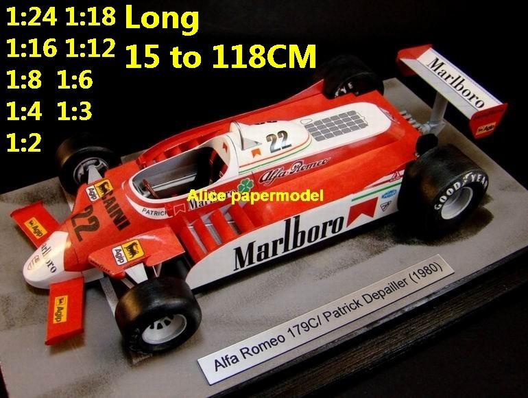 1:24 1:18 1:16 1:12 1:8 1:6 1:4 1:3 1:2 scale 1980 Alfa Romeo 179 FIA Grands Prix Formula one 1 F1 F-1 Ferrari Mercedes Renault Honda vintage classic old racing sport car sedan big large scale size car papercraft model models on for sale store shop