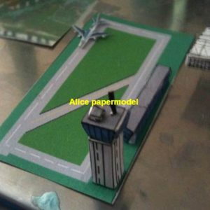 Modern airport plane airfield runway airdrome terminal aerodrome flying fieldhangar parking apron scene models